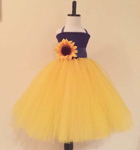 Sunflower tulle dress with matching headband set navy and for Sunflower dresses for wedding