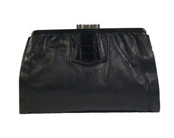 Vintage 1930s Deco Black Leather & Crocodile Clutch Bag