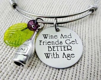 Wine and Friends Get Better With Age - Engaved Beach Bracelet or Necklace - Beach - Cruise Jewelry - Ocean