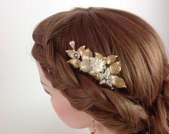 Bridal Hair Comb - Beach wedding hair accessories with seashells 18k gold plate - Ready to ship