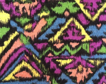 80s vintage Graphic brushed hammer pants cotton fabric 1m