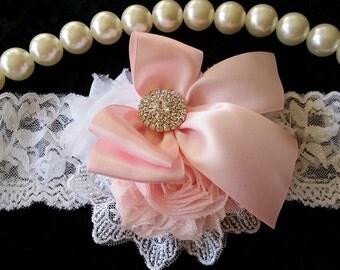 Lt Pink Headband/Shabby Chic Headband/Infant Headband/Baby Headband/Newborn Headband/Toddler Headband/Girls Headband/Baby Girl Headband