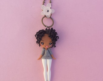 Girl necklace in fimo, polymer clay