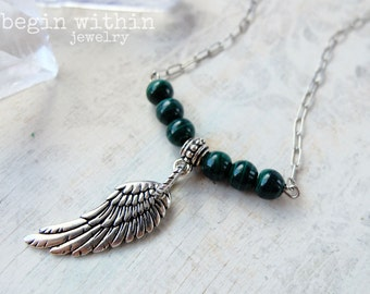 Archangel Raphael Necklace / Angel Wing Necklace / Silver Malachite Angel Necklace / Angel Wing Jewelry