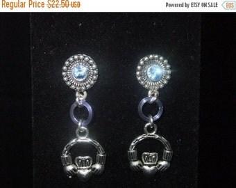 ON SALE Jeweled Blue Claddagh Stud Earrings