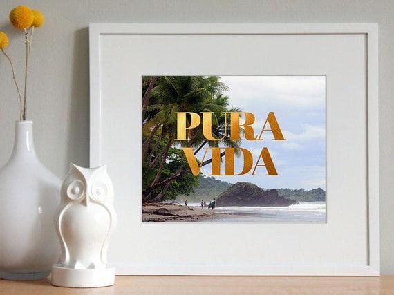 Pura Vida Faux Gold Foil Typographic Printable
