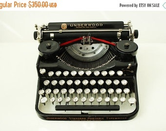 ON SALE -30% Antique Underwood Portable Four Bank Typewriter from the 1920s made in USA