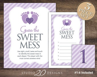 Instant Download Lilac Footprint Baby Shower Candy Bar Game, Purple Dirty Diaper Game, Lavender Grey Guess the Sweet Mess Game 75B