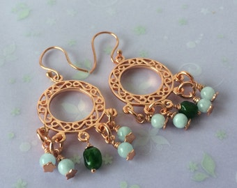 Aquamarine and crome diopside earrings