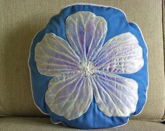 Original Round 'Blue Geranium' Hand made Cushion (pillow)