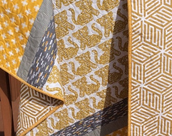 Baby quilt, baby boy quilt, toddler quilt, tiger quilt, crib quilt, modern baby quilts, gold yellow grey,