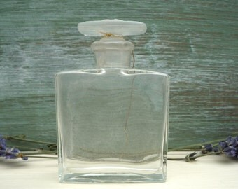 Vintage Perfume Bottle, Art Deco Square Glass Scent Bottle and Stopper