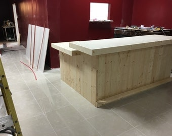 The Roy - 8' x 5.5' rustic retail sales counter, bar, or POS