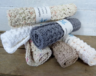 Cotton Dish Cloths / Crochet Dish Cloths / Textured Dish Cloths / Tan, Gray, White, Off White, Cream, Grey
