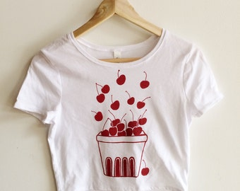 Screen Printed T Shirt, Cherry, Crop Top, Fruit Print, Cherry Shirt