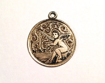 14K Antique Love Token: Hand Engraved Gold Coin