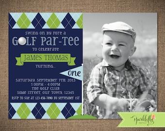Golf Par-tee Birthday Photo Invitation First Birthday Invite by Sparklefly Paperie