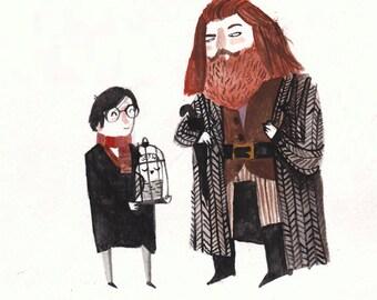 Harry and Hagrid Postcard