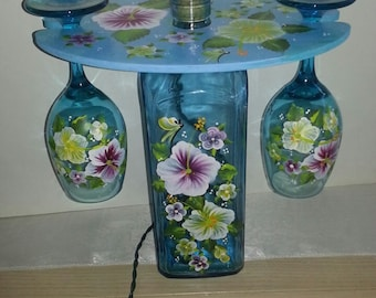 Hand-painted Wine Bottle Lamp & Glass Hanger Set