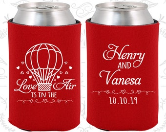 Love is in the Air Favors, Wedding Keepsake, Hot Air Balloon Favors, Love Wedding Favors, Cheap Wedding Can Coolers (225)
