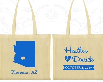 Arizona Wedding, Arizona Tote Bags, Custom Canvas Bags, Destination Wedding Bags, State Tote Bags, Tote Bag Personalized (102)