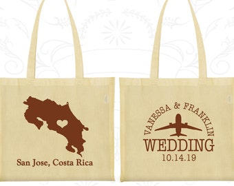 Costa Rica Tote Bags, Costa Rica Wedding, Wedding Favor Cotton Bags, Destination Wedding Bags, Personalized Tote, San Jose Tote Bags (169)
