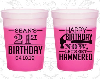 21st Birthday Mood Cups, Happy Birthday, Lets get Hammered, Birthday Color Changing Cups (20087)