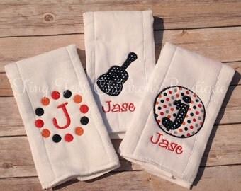 Personalized burp cloth, Personalized baby boy burp cloth set, Monogrammed burp cloth, monogrammed burb cloth set