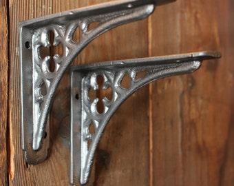 "2 x 5x4"" Small Gothic Cast Iron Brackets, Shelf Shelving Brackets, Country Home Bathroom Fixture  - Pewter Finish Industrial Vintage BR03px2"