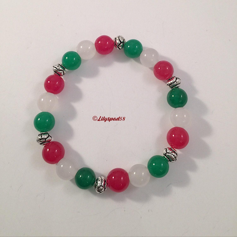 Jade Bracelet Beads: Beaded Bracelet Red Green White Jade Beads 'Day Of By