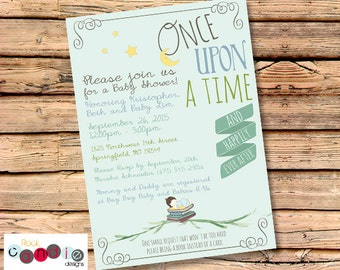 PRINTABLE or PRINTED Book Themed Baby Shower Party Invitation / Once Upon a Time / Story Time / Literary / Storytime / Book Theme / Invites