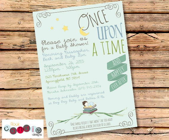 PRINTABLE or PRINTED Book Themed Baby Shower Party Invitation – Book Party Invitation