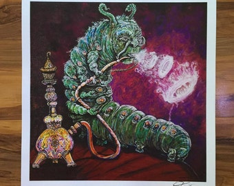 """Absolem Caterpillar Painting Print 18""""x13"""" on 100 pound paper!"""