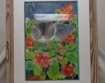 Nancy Bruce Estate Found Vintage Matted Watercolor Painting w. Vintage Frame