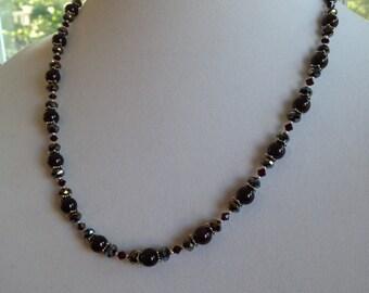 Garnet & Swarovski Crystal Sterling Silver Necklace (N2)