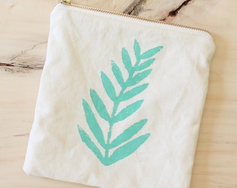 THE FERN POUCH - small zip pouch paradise green fern
