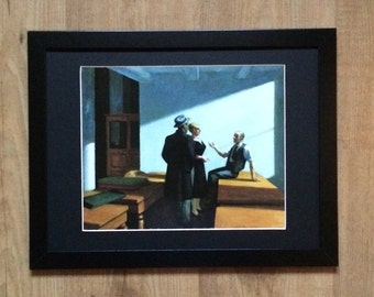 Framed and Mounted Edward Hopper - Conference at Night , 12''x 16'' frame, 1949