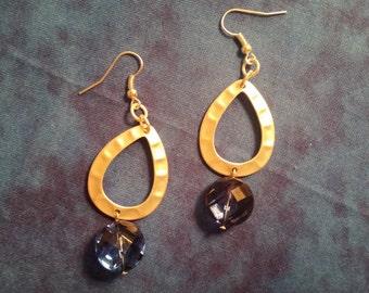 Silver Tone Teardrop with Blue Earrings
