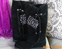 SALE DC Boots, Black Suede Boots, Womens Designer Boots, Size 6 Boots, Fur Trim Boots, Suede Booties
