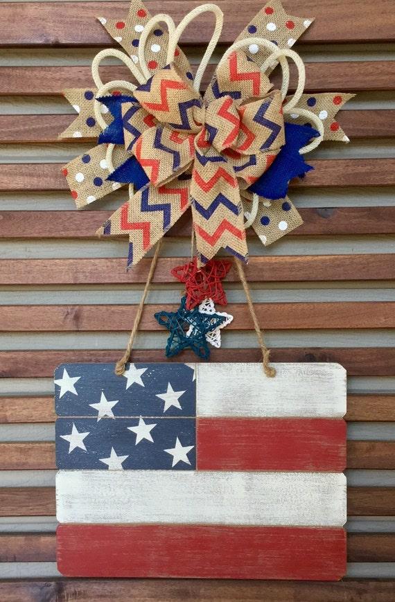 Patriotic Door Hanger Patriotic Wreath American Flag Door