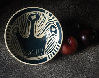 Teal Crown Bowl - Sgraffito hand carved pottery ceramic tableware dinnerware princess fruit heart