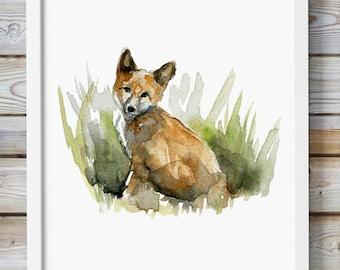 Fox Watercolor Painting - Giclee Art Print - Fox Aquarelle - Animal painting - Watercolour Painting - Home decor Wall Art