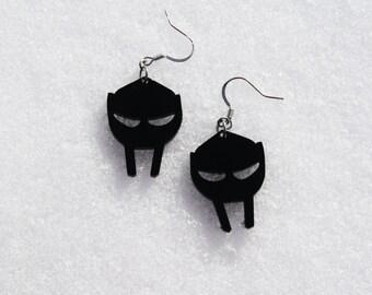 MF Doom Mask Black acrylic earring set