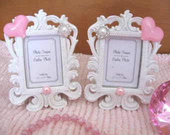 set 2 chic white very ornate small photo frames pink glitter heart pearls rhinestone cabochon carved