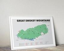 Great Smokey Mountains National Park Map, Great Smokey Mountains, Outdoors print, Explorer Wall Print