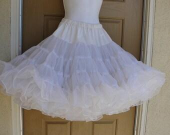 Vintage 80s white full petticoat small medium square dance