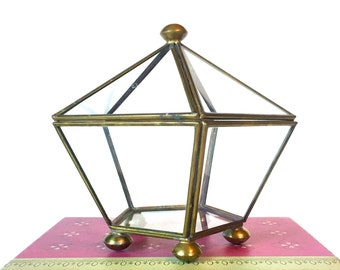 VIntage Brass and Glass Box