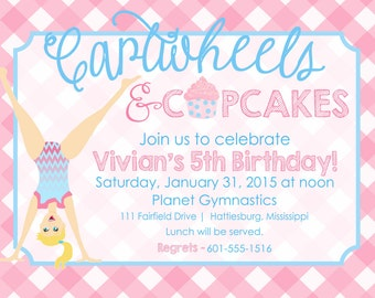 Cartwheels and Cupcakes Birthday Party Invitation (7inx5in) (SET OF 10)