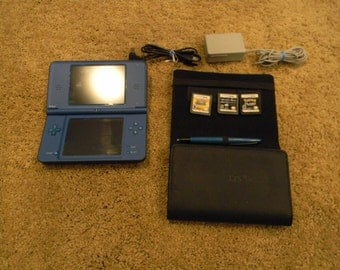 Nintendo DS XL Rare Video Game Console Blue Bundled with Three Rare Games Including Pokemon