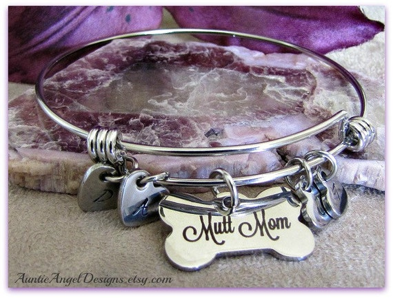 Hand-stamped Dog Lover Jewelry; Personalized Wire Bangle Bracelet;  Mutt Mom Bracelet; Dog Bone Monogram Bangle; I Love My Mutts Jewelry